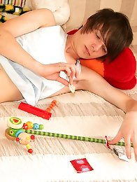 Horny emo boy fuck yourself with toys