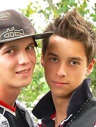 Cute Teen Boy Couple outdoor action